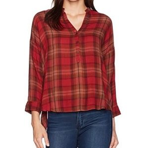 Lucky Brand Plaid Popover Blouse Size Med